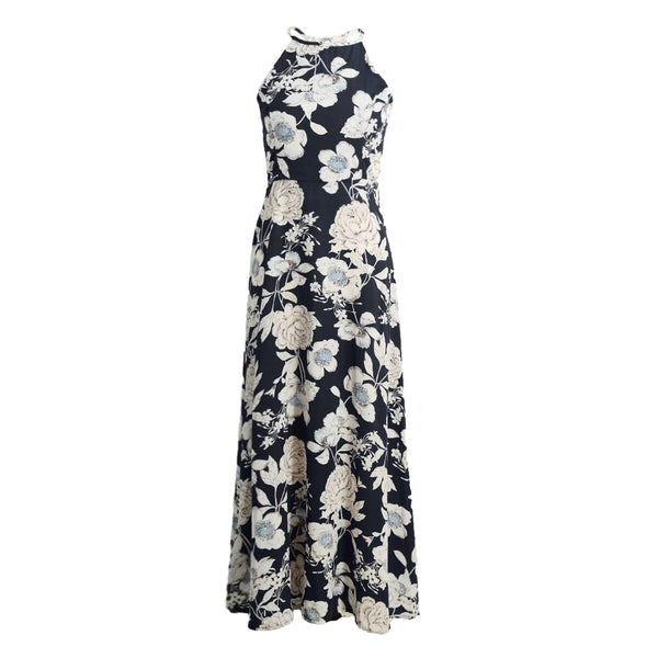 Marianne Floral Print Summer Halter Maxi Dress