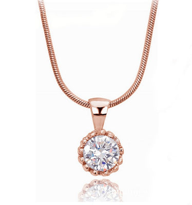 Round Cubic Zirconia Necklace - Rose Gold