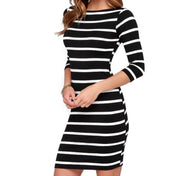 Women's Slim-Fitting Striped Bodycon Dress - Small