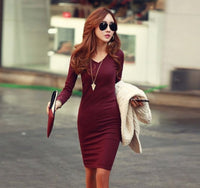 Women's V Neck Long Sleeve Knit Bodycon Wine Red Dress - Medium