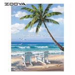5D DIY Diamond Painting - Beach Seaside, Coconut Trees & Chairs