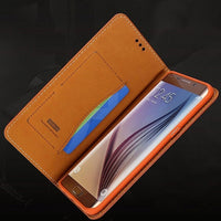 Soft Genuine Leather Magnetic Flip Case with Card Slot for iPhone X - Brown