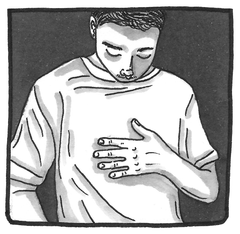 Image shows a greyscale hand-drawn illustration of a trans man with a flat chest wearing a t-shirt. He is looking down at his chest and has one hand resting on his chest.