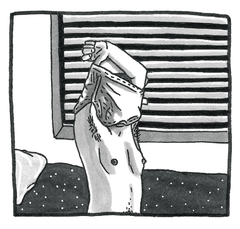 Image shows greyscale hand-drawn illustration of someone taking off a chest binder. The binder is up on their head and their breasts are showing.