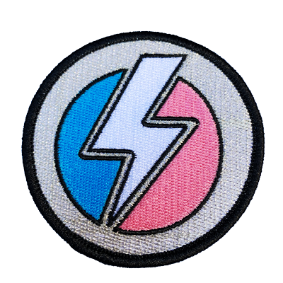 SDH Trans Bolt Patch - Sock Drawer Heroes | For the Trans & Gender Variant Community