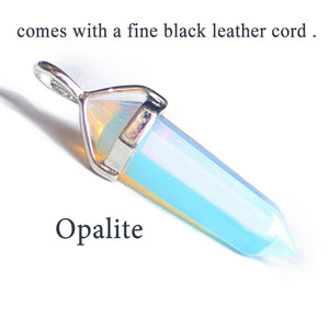 Natural Opal Pendant Quartz Necklaces With Black Leather Chains