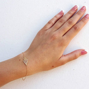 Simple Gold And Silver Hand Of Fatima Bracelet