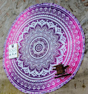 Blue And Purple Round Mandala Beach Towel Tapestry