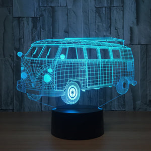 3D Visual Kombi LED USB 3D light Table Lamp 5 Changeable Colours