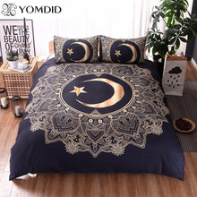 3Pcs Gold Mandala Boho Moon And Star Bed Set 6 Different Designs