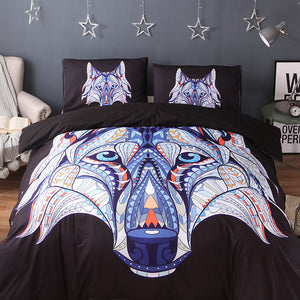 3Pcs Boho Patterned Wolf Bed Set