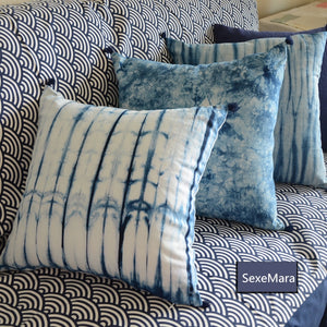 45*45cm unique manual Tie dye geometric dark blue cotton Cushion Cover