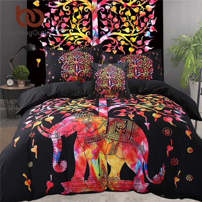 Colored Elephant Bedding Set Tree Pattern Boho In AU And US Sizes