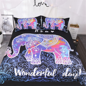 3Pcs Black Elephant Mandala Bed Set US And AU Sizes