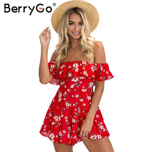 Bohemian red Floral Shoulder Off Romper