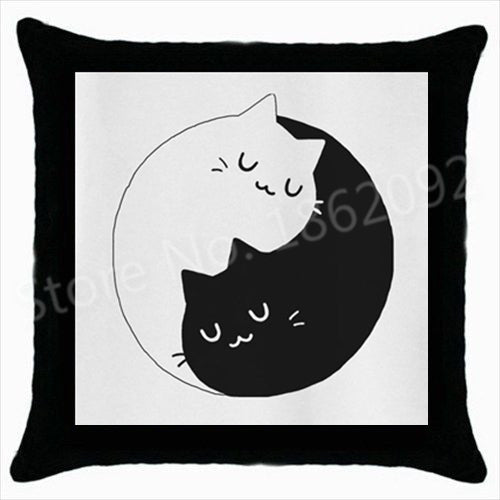 Kitten Black And White Yin Yang Cushion Cover Size 18