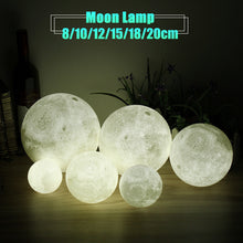 Colour Changing Night Moon Lamp 3D USB LED Moon Lamp 8/10/12/15/18/20cm