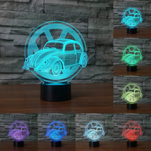 Creative car sign 3D light Night Light 7 Changeable Colours LED Table Lamp