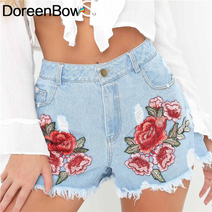 Flower Rose Embroidery High Denim Hippie Chic Shorts