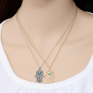 Vintage Gold And Silver Pendant Hand Of Fatima Necklaces