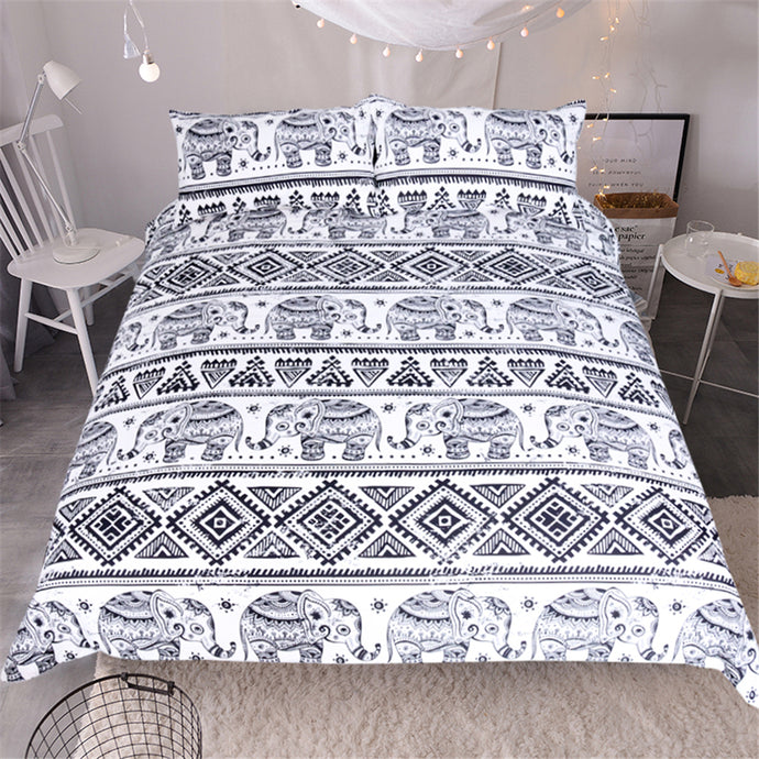 3pcs Boho Patterned Elephant Bed Set