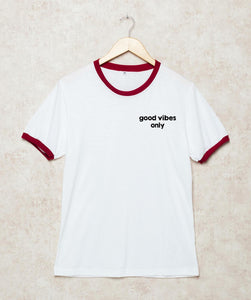 Hippie Good vibes only Shirts Red And Black Ringers