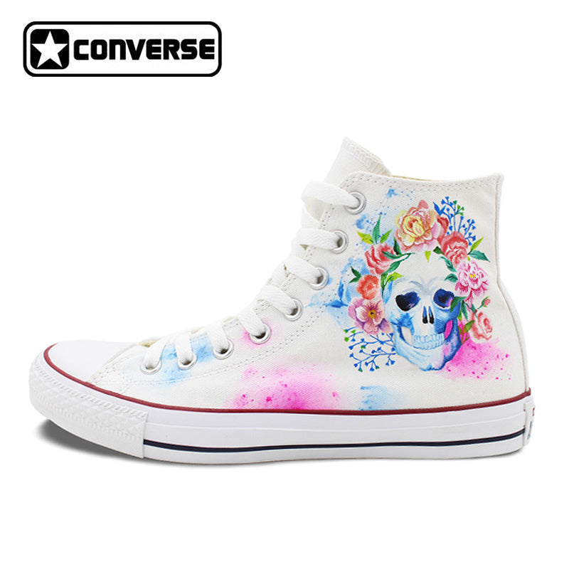 Flower And Skull Hand Painted Converse Shoes