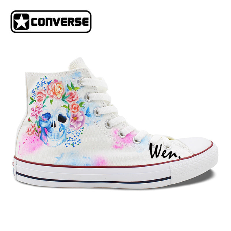 ca9f4cf51373 Flower And Skull Hand Painted Converse Shoes – Hippie Vibes
