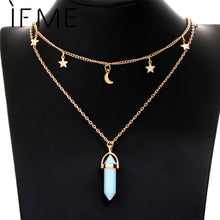 Natural Opal Stone Moon Star Choker Necklace With Crystal Pendant