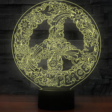 3D Art Hippie Peace Shaped Sign Night Light Table Lamp 5 Changeable Colours