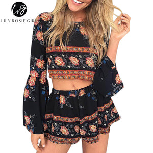 Boho Red Floral Print Beach Jumpsuit Romper