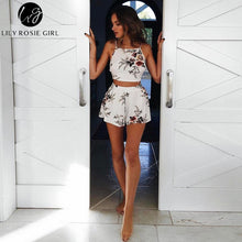 Two Piece White Floral Boho Backless Romper