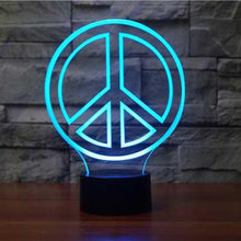 Simple Novelty Peace 3D Night Light 7 Changeable Lights