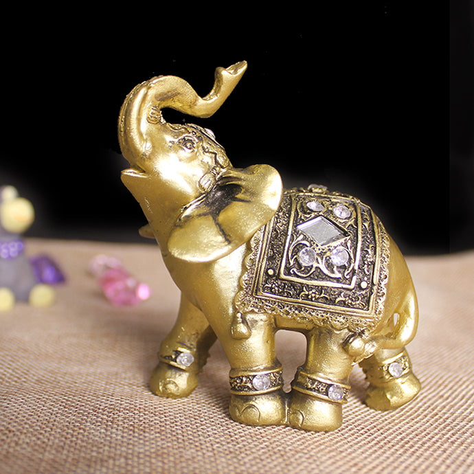 Lucky Elephant Gypsy Gold Elephant Decor Figurine