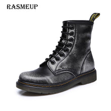 Genuine Leather Women's Boots Black White Grey