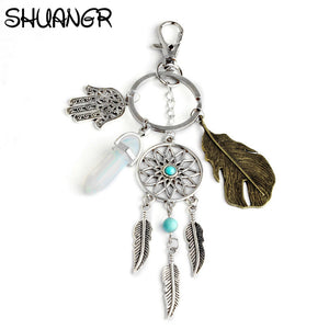 Vintage Metal Feather Hand Of Fatima Hand Keyring