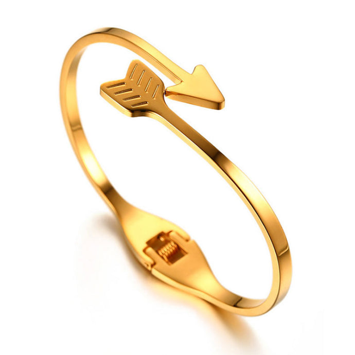 Stainless Steel Gold Arrow Boho Cuff Bracelet