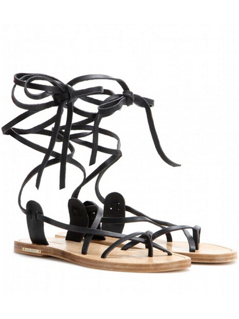Summer Style Ankle Tie Flat Sandals Black And Brown