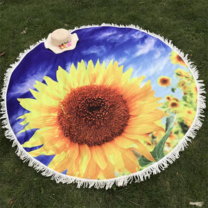 Sunflower Print Round Tapestry
