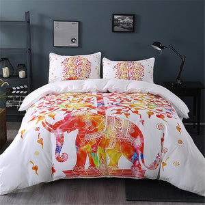 4PCS Elephant Mandala Bedding Boho Duvet Cover Full King Queen Twin