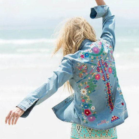 Women Hippie Floral Embroidery Denim Jacket