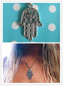 Vintage Silver Hand Of Fatima Bead Pendant Necklace