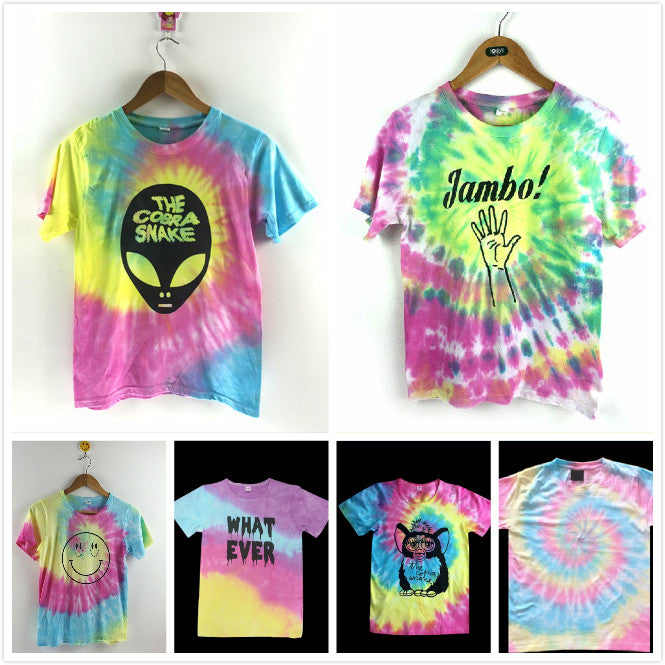 Women Tie Dye Gradient Tees Alien Rainbow Prints
