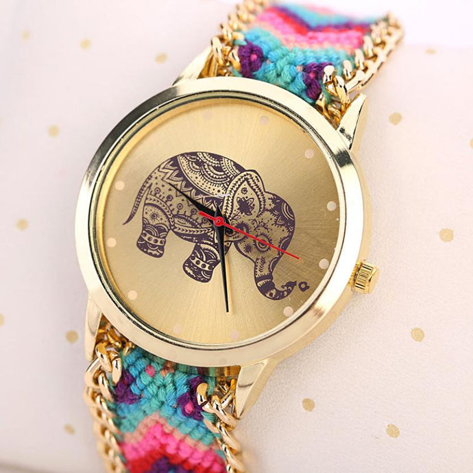 Boho Style Watches Women fashion Elephant Pattern Weaved Rope Band Bracelet Quartz