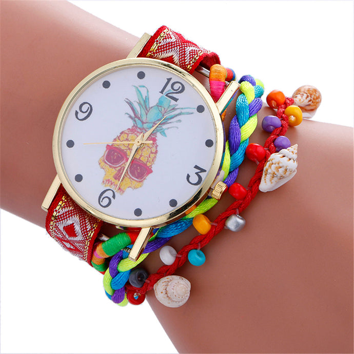 Women Bracelet Watch Pineapple Print Round Dial Casual Wrist Watch For Women Boho