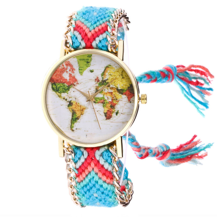 Boho Watches Women  Map Knitted Weaved Rope Band Round Dial Bracelet Quartz