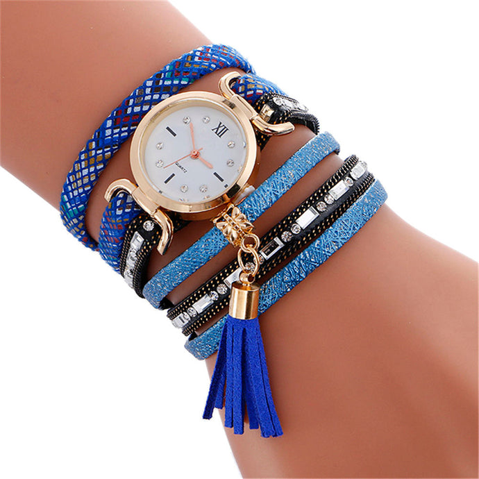 Boho Style Watch Women New Fashion Pendant Leather Bracelet Quartz Wrist Watch For Women