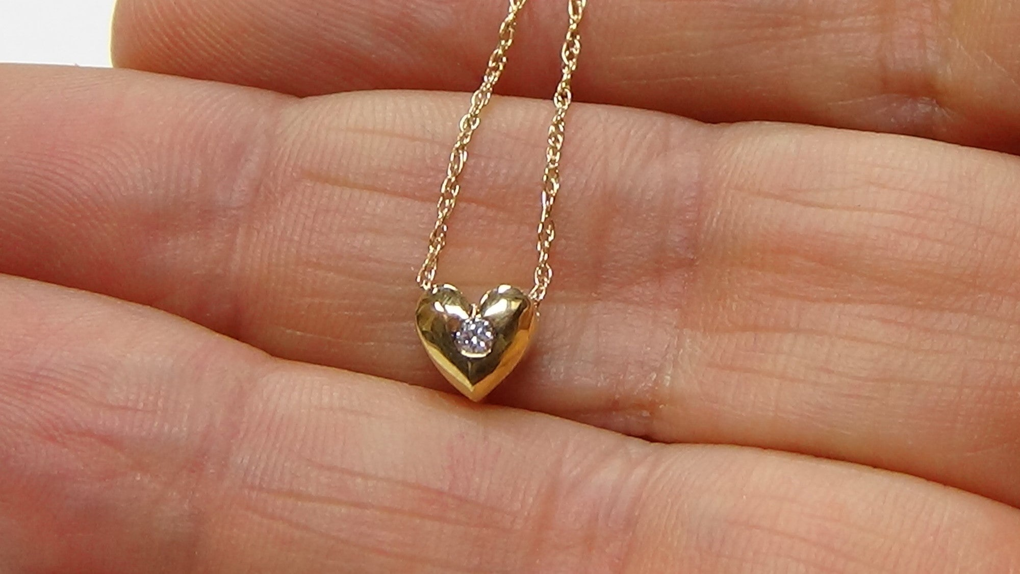 """Details about  /Diamond Heart Pendant Necklace F SI1 Solitaire 14k White Gold 16/"""" Chain Delicate"""