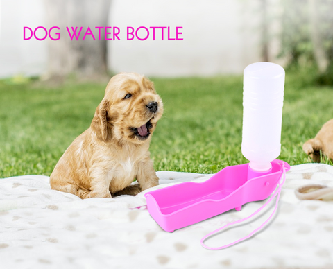 Portable Plastic Dog Water Bottle Feeder With Bowl Choose from 250ml or 500ml & 3 Colours - Secret Sales Den