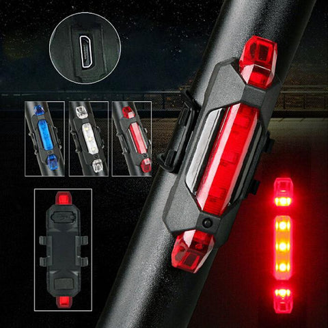 Portable USB Rechargeable Bike Cycle Rear Safety Warning Light Taillight - Secret Sales Den